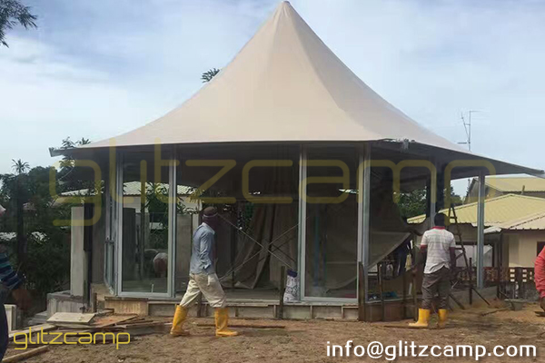 hexagon glamping tents - luxury glamping resorts tent for sale - glamorous camping experience - tented accommodation (3)