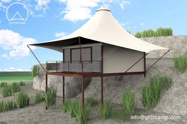 luxury lodge tent for glamorous campsite on mountain cliff or highland (1)