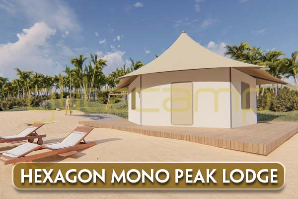 glamping lodge tent - hexagon-mono-peak-lodge-tent