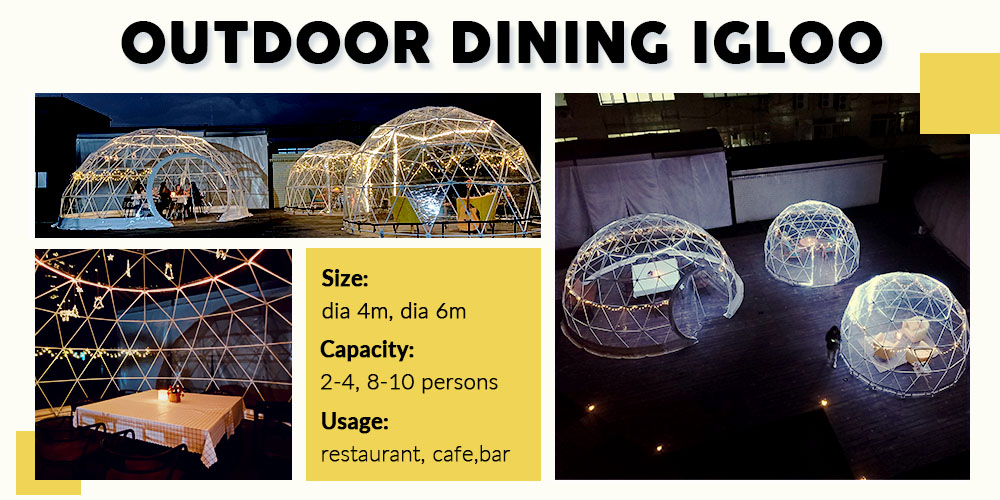 4,6m igloo banner- shelter catering igloo- outdodor dining igloo