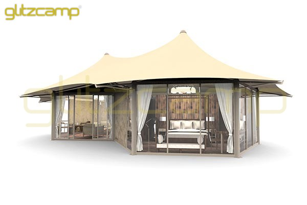 safari lodge tent - Glitzcamp Twopeak Safari Tent Eco Lodge Tent hotel resort tents - spa & resort tents - safari glamping experience (49)