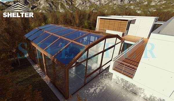 retractable patio enclosures - telescopic sunroom extension - above ground or inground swimming pool enclosures - enclosed porch - glass polycarbonate dome spa enclosure (3)