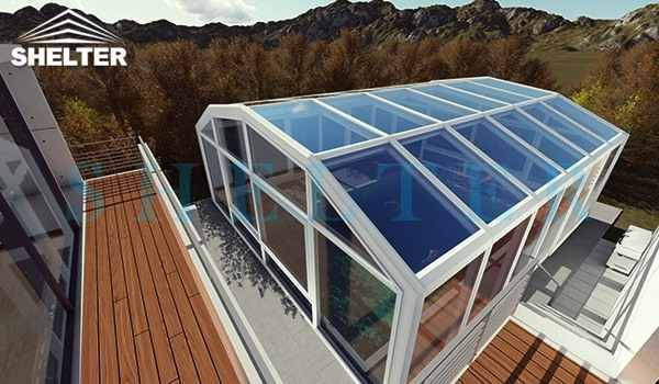 retractable patio enclosures - telescopic sunroom extension - above ground or inground swimming pool enclosures - enclosed porch - glass polycarbonate dome spa enclosure (32)