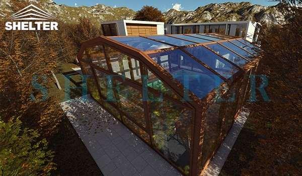 retractable patio enclosures - telescopic sunroom extension - above ground or inground swimming pool enclosures - enclosed porch - glass polycarbonate dome spa enclosure (4)