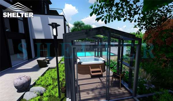 spa enclosure for sale - swimming pool cover sun house polycarbonate shed retractable sun house