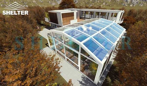 High Pool and Spa Enclosures With Skylight for Rooftop or Inground Pool
