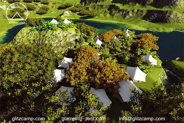 luxury lodge tent for glamping tent house suites in the forest wood or farmland pasture windery (2)