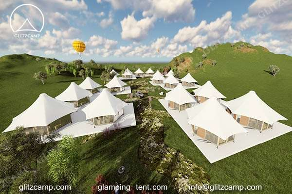 luxury lodge tent for glamping tent house suites in the forest wood or farmland pasture windery (3)
