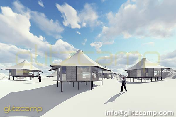 luxury lodge tent - glamping campsite on snowy area ireland canada united states Chile russia (2)
