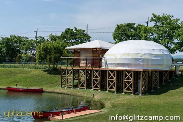 teardrop glamping dome tent-waterdrop dome pod house for lakeside or seaside resorts-eco living dome hotel for 4 persons tent-glitzcamp (1)